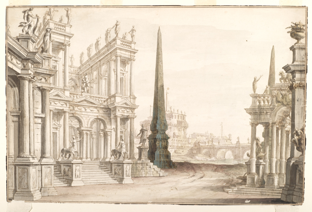 Palaces with porticoes and colonnades at left. Statues of two centaurs placed on plinths flank a low stair. At center, a tall obelisk stands with Castel Sant'Angelo behind and the Ponte Elio in the distance. Another palace, decorated with statues and a flower filled vase is at right.