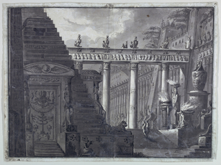 Horizontal rectangle. Court in Egyptian temple with sculptures and elaborate decoration. Two figures in middleground at right ascend staircase.