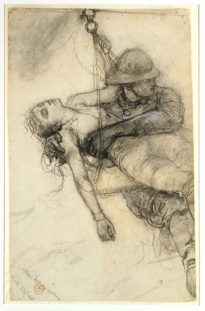 A firefighter facing right and holds an unconscious young girl in a gurney as he carries her to safety.  The girl's head rolls back, her right arm hangs down limply and the clutches a rope.