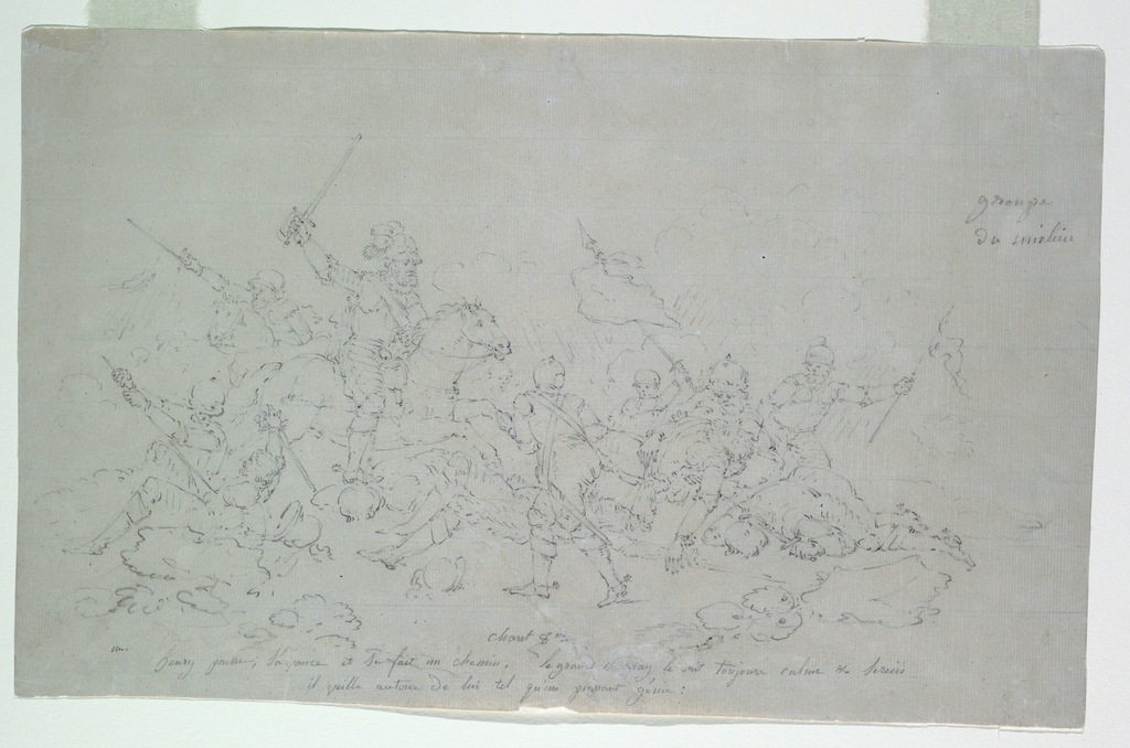 """One scene from Voltaire's epic """"Henriade"""" showing Henry IV in the Battle of Ivry, in which the Duke of Mayenne is defeated and the Earl of Egmont slain (Canto VIII, lines 180-181)."""