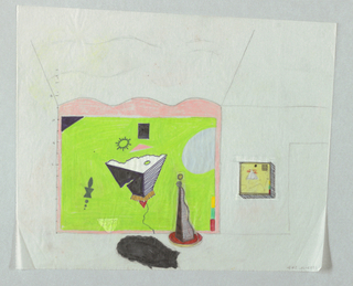 "At the end of a room whose walls and ceiling are drawn in perspective, is rear wall painted bright green with shapes ""floating"" on green ground.  One pyramid shape, viewed from above, appears to project into the room.  A floor lamp composed of tall triangular panels stands in front of painted wall.  On the wall to right of decorated wall is small, box-shaped relief with yellow ground.  A black irregular ""blob,"" to left of lamp may represent a table."