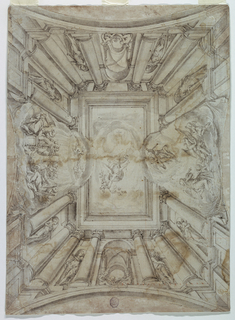 "Horizontal rectangle.  Embedded columns are supporting the oblong entablature, framing the view into the sky, there a female genius and two putti, supporting together one flower stem, are visible.  In the middle of the short sides are views into vaulted rooms, with three putti, singing or playing instruments are sitting in the foreground.  In the middle of the long sides are clouds, making also invisible the entablature with groups with the same occupation.  On each side are two niches between the columns, each containing a statue.  On the reverse a caption in handwriting of the 17th century: ""Canagliore caesore Serme dipinto / ne la congregatione di gentilomi / Diputato razere meniconi"". And in a somewhat antique handwriting: ""Roma Roma""."