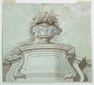 A flower vase upon a pedestal projecting from a parapet.