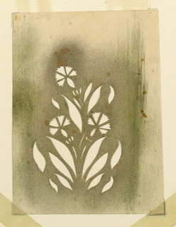 Yellowed paper, with a bunch of elongated leaves and three pinks. Darkened around the motif, with traces of gold powder.