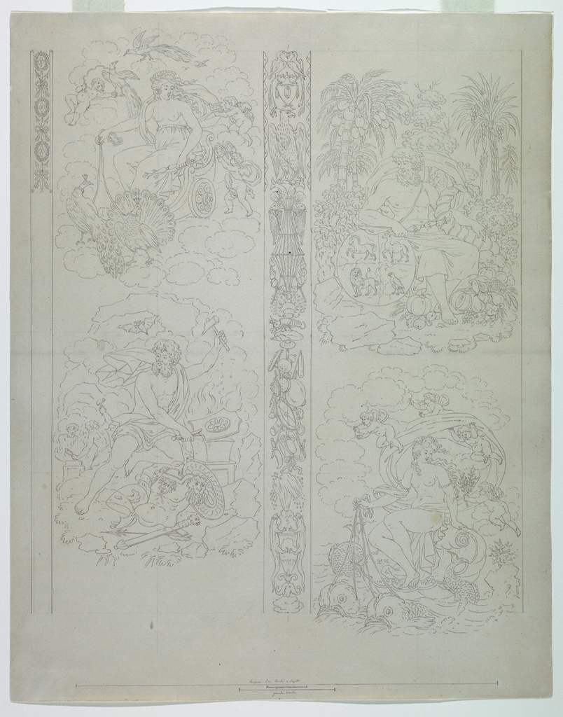 "A design is composed of four vignettes separated in pairs vertically in the center of the composition by a strip composed of trophies symbolizing the elements, and at the repeat, a similar unfinished panel along the upper left margin.  The vignettes show: upper left, Juno seated in a chariot drawn over the clouds by peacocks accompanied by amoretti (personifying ""Air""); lower left, Vulcan forging armor (personifying ""Fire""); upper right, Saturn seated in a landscape holding a cornucopia and beside him a globe, quartered with four animals (personifying ""Earth""); lower right, Venus borne over the water on a shell drawn by dolphins, attended by amoretti (personifying ""Water"").