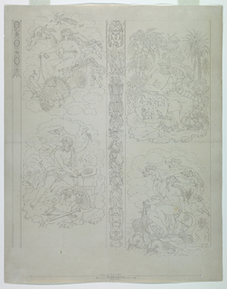 "A design is composed of four vignettes separated in pairs vertically in the center of the composition by a strip composed of trophies symbolizing the elements, and at the repeat, a similar unfinished panel along the upper left margin.  The vignettes show: upper left, Juno seated in a chariot drawn over the clouds by peacocks accompanied by amoretti (personifying ""Air""); lower left, Vulcan forging armor (personifying ""Fire""); upper right, Saturn seated in a landscape holding a cornucopia and beside him a globe, quartered with four animals (personifying ""Earth""); lower right, Venus borne over the water on a shell drawn by dolphins, attended by amoretti (personifying ""Water"").  Scale, in pen and black ink (according to Richard Wunder, by the artist's hand), lower margin."