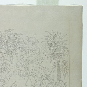 """A design is composed of four vignettes separated in pairs vertically in the center of the composition by a strip composed of trophies symbolizing the elements, and at the repeat, a similar unfinished panel along the upper left margin.  The vignettes show: upper left, Juno seated in a chariot drawn over the clouds by peacocks accompanied by amoretti (personifying """"Air""""); lower left, Vulcan forging armor (personifying """"Fire""""); upper right, Saturn seated in a landscape holding a cornucopia and beside him a globe, quartered with four animals (personifying """"Earth""""); lower right, Venus borne over the water on a shell drawn by dolphins, attended by amoretti (personifying """"Water"""").  Scale, in pen and black ink (according to Richard Wunder, by the artist's hand), lower margin."""