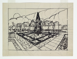Drawing, L'If Noir dans le Jardin d'Amour (Black Yew Tree in Garden of Love)