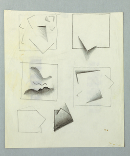Six alternative designs for wall reliefs [?].  Five have a projecting angular forms; one, at center left, with curving lines within square field.