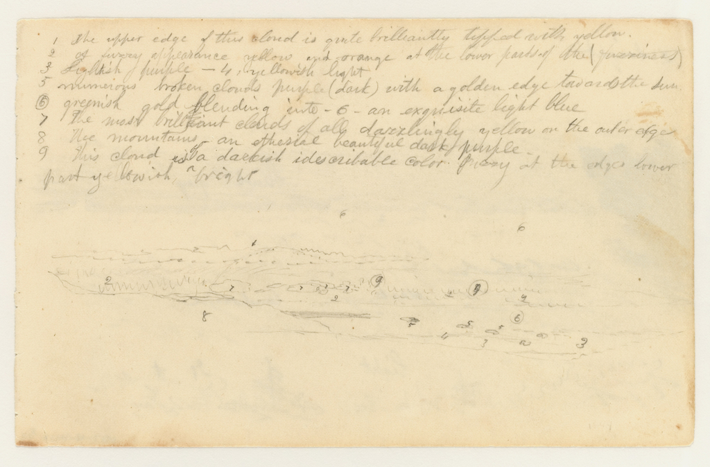 View over hillside with alternating dark and light cloud layers; perhaps view from Catskill Mountain House.  Verso: Clouds, landscape