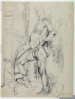 "Vertical rectangle. A standing nude man is seen facing one quarter to the left, his right leg resting on the rung of a chair before him, and his left hand on his hip. Signed, lower right (in pencil): ""D. Hillier MacDonald."""