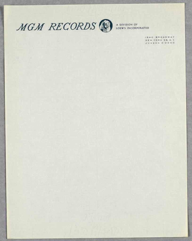 Letterhead, MGM Records