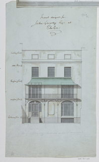 Front elevation of a house places on the lower portion of the sheet. Inscription above..