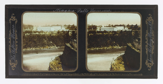 Two identical images showing a white building on a cliff overlooking a river; cropped view of other side of cliffs.