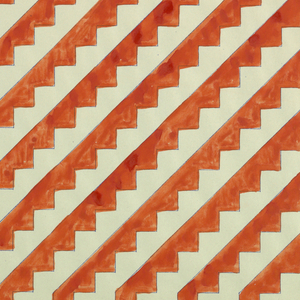 Red diagonal lines that resemble flights of stairs on white background.