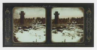 Two identical images of the Terrapin Tower in a snow-covered landscape.