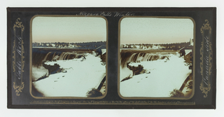 Two identical images showing the falls with snow-covered cliff, and buildings at right.