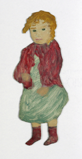 Paper doll of a female figure wearing a green dress.
