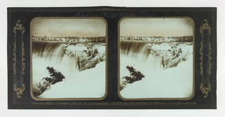 Two identical images showing the falls with snow-covered cliff.