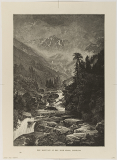 View of mountainous landscape with cross on mountain delineated in snow in the distance. Standing and fallen trees in and around river that runs through rock formation to a waterfall in the lower left of foreground.