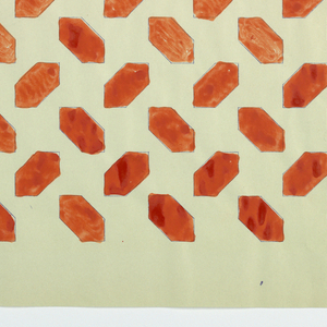 All-over pattern of unconnected red lozenges on white background.