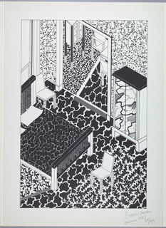 A bedroom interior in black and white cow and speckled pattern motif of different sized splotches with a view of the dining room; furniture includes: armoire, bed, chairs.