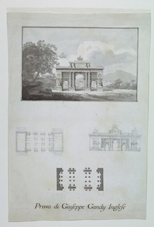 Vertical rectangle. Above, plan view of a Neoclassical arch situated in a country landscape, aquarelle with two framing lines. Below, two sketches of plan and elevation of a similar arch that has the addition of two rooms at the sides. Below, the plan of the arch depicted at top.