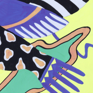 Design for the central portion of the scarf: design of yellow ground layered with blue curved lines and green splotches bordered with peach color; spotted peach, black, yellow, and blue exotic bird with wings open.