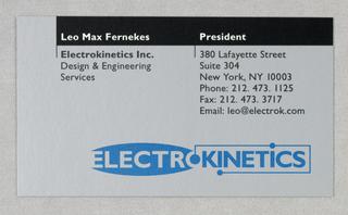 Business Card, Electrokinetics