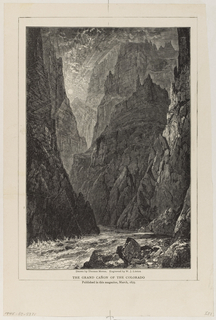Sun shines through tall mountainous cliffs, narrow opening with river running through.