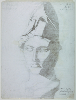 Vertical rectangle. Head of Athena (from cast) seen frontally. She wears a helment.