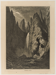 Waterfall from high cliffs into river below; figure on rocks motioning to waterfall with arm raised.