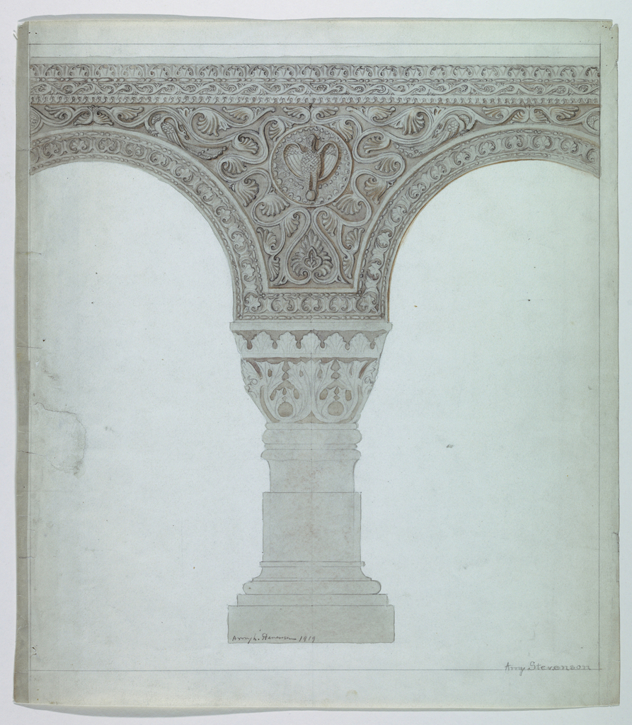A squat column supports a heavy spandrel decorated with a medallion of an eagle on a foliate ground. Foliate border on arches.