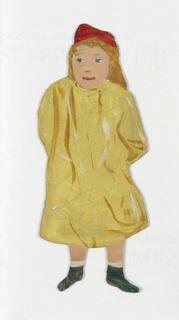Paperdoll of a young female figure in yellow dress.