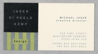 Business Card, Jager Di Paola Kemp