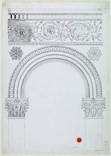 Vertical rectangle. A semi-circular opening, supported by columns bearing capitals in the Corinthian style. Various classical borders make up the arch itself. Rosettes, upper left, upper right surmounted by a frieze, including a wide rinceau border.