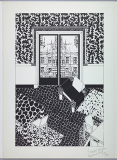 Interior view of a sitting area with view through French glass doors of a church. Interior decorated in black and white patterns.