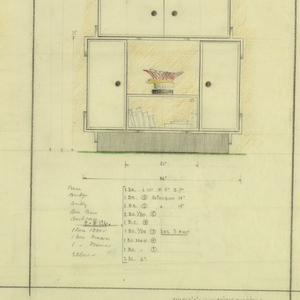 """Left: Highboy consisting of base, vertical two door box, horizontal two door box, two vertical drawers (descend up in width), a small open box with a leafy arrangement on top. Inscription: C. # 124 [Dimensions throughout] Center: Highboy consisting of base, two tall vertical doors with two tiered box in between , two doored horizontal box with side book shelf extensions, two horizontal open book boxes (descend up in height and width), a leafy arrangment on top.  Inscription: C. # 125 [Dimensions throughout] Right: Highboy consisting of wide base, two-door vertical boxes with open space in between (lower portion shows books), three double door boxes (descend up in width and height), a leafy arrangment on top.  Inscription: C. # 126 [Dimension throughout] Lower right in margin: compositions of bridge furniture/ NY May 4, 1933/ JB (initials)/ scale 1""""-1'.0""""."""