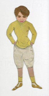 "Paper doll of a male figure dressed in a white pants and a yellow shirt, identified as ""Bob."""