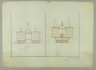 Left: Design for a side table (or chest of drawers) showing double-side unit with three drawers on base, deco column lamp on top.  Center module consists of large open box at bottom, a 3-drawer unit, ascending in size and a tall vase with a simple leafy arrangement on top. Sketch for a tall oval mirror is shown behind unit.  Right: Design for side table (or chest of drawers) showing double-sided unit with four drawers on base, center open box with bouquet of flowers in bowl, and two door box on base.  A center two-door box with leafy arrangement on top of unit is flanked by two narrow mirrors. [Dimensions of sections listed]