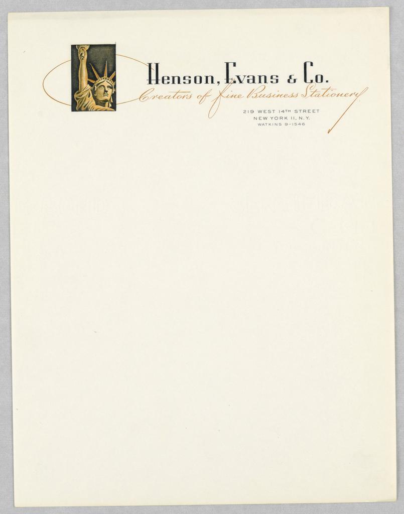 Letterhead, Henson, Evans, & Co.