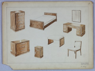 Design for suite of bedroom furniture. Eight pieces shown; from upper left to lower right: high chest, bed, vanity with mirror, dresser, nightstand, vanity seat, side chair. Each object shown in perspective and appears to be finished with vertically striated wood on sides and tops with burled wood for fronts and select trim. Rectilinear style with horizontal elements and hardware; stool and chair with white upholstery. Inscribed with Deskey No. 7866.