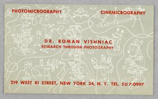 Business Card, Dr. Roman Vishniac, Research Through Photography