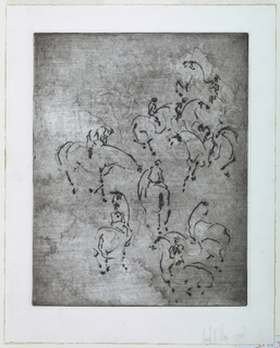 Vertical rectangle. Nine horses and their riders shown in an open composition.
