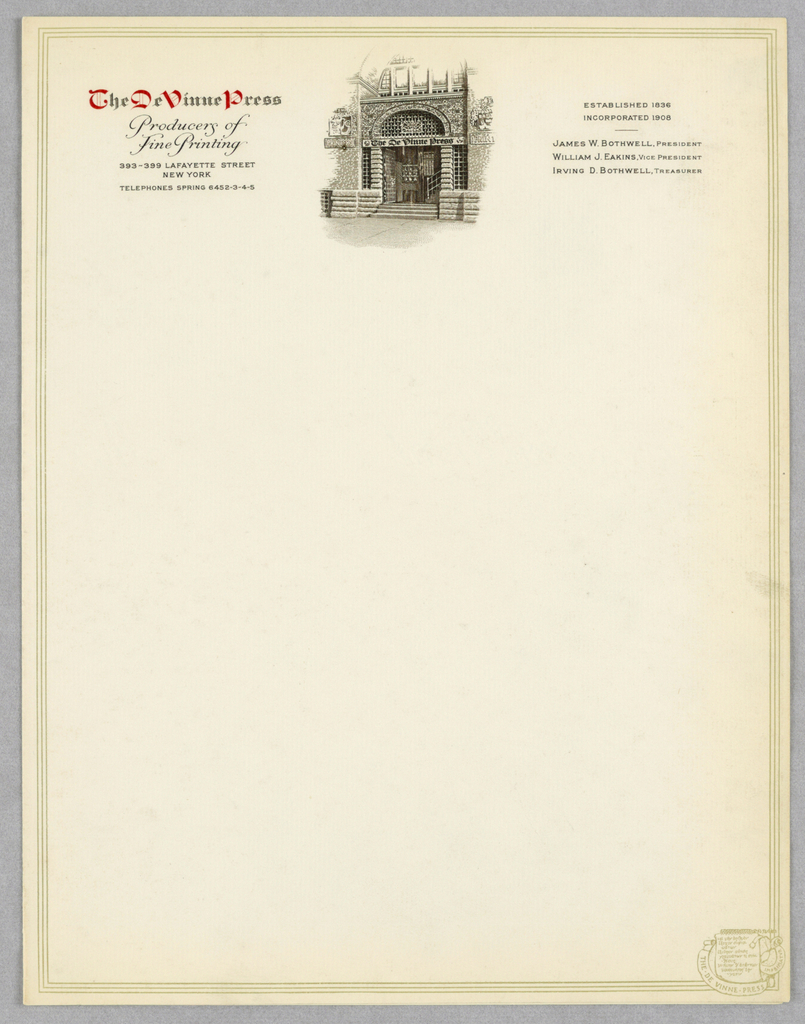 Letterhead, The De Vinne Press