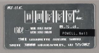 "Business Card, ""Joe Duffy"" (metal)"