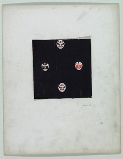 On black background, four faces wearing winged masks of black, red, and white.