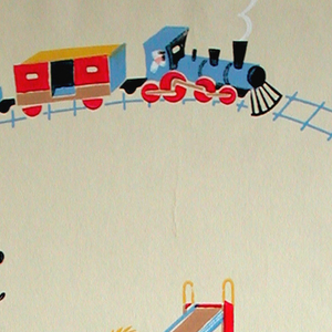Children's paper, showing chidren at play: jumping rope, on a see-saw, in a sandbox going down a slide and at the beach. Also shows a train.  Printed in colors on a beige ground.
