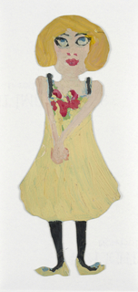 Paper doll of a female figure wearing a yellow dress with red flowers.