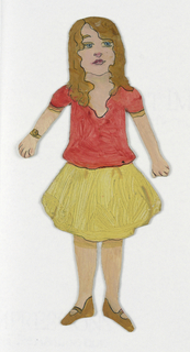 "Paper doll of a female figure wearing a yellow skirt and read blouse, identified as ""Suzanne."""